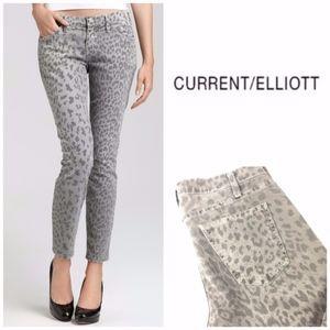 Current/Elliott Stiletto Gray Leopard Skinny Jeans